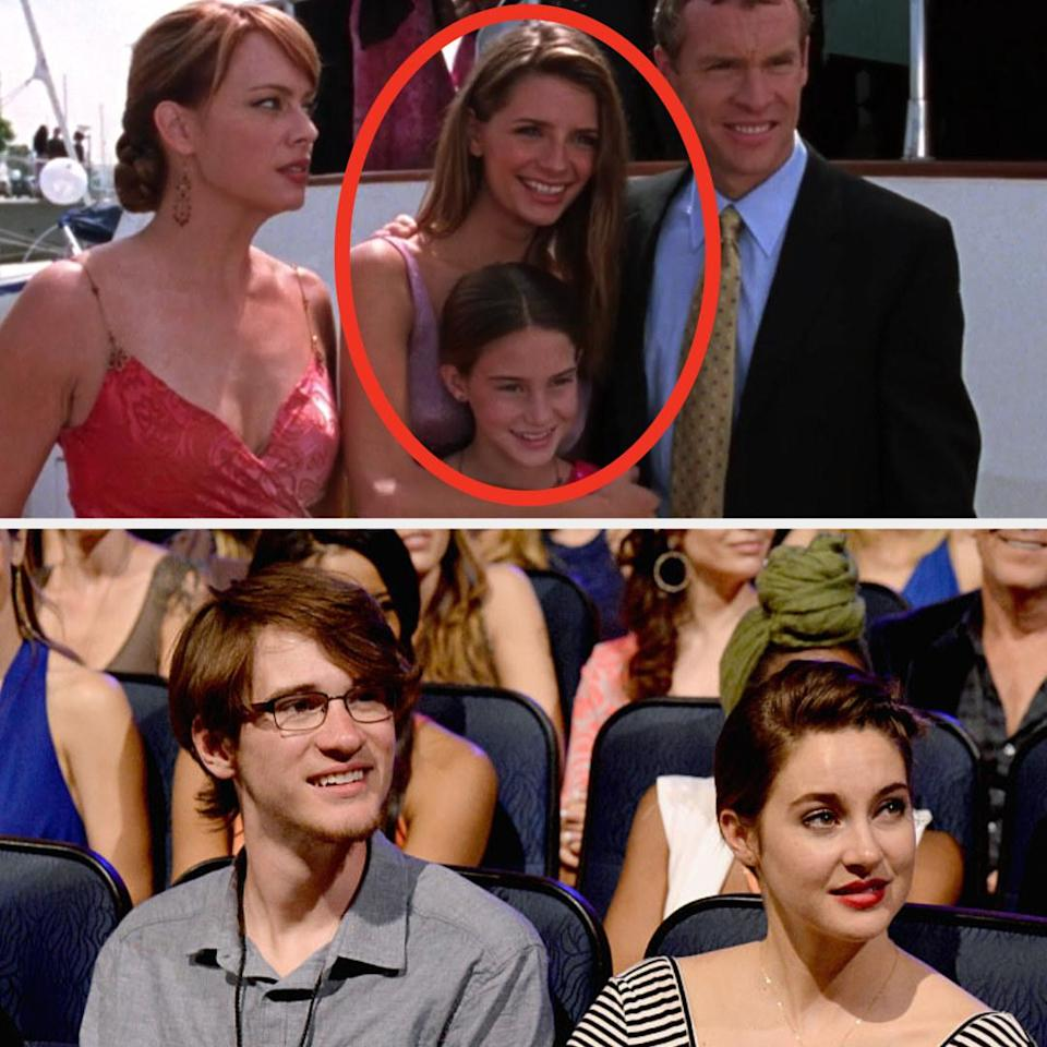 Above, Kaitlin poses for a photo with her sister and parents. Below, Shailene sits next to her brother at an event
