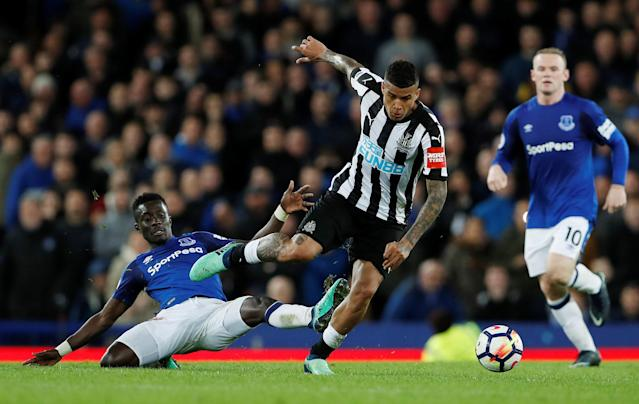 "Soccer Football - Premier League - Everton v Newcastle United - Goodison Park, Liverpool, Britain - April 23, 2018 Everton's Idrissa Gueye in action with Newcastle United's Kenedy Action Images via Reuters/Lee Smith EDITORIAL USE ONLY. No use with unauthorized audio, video, data, fixture lists, club/league logos or ""live"" services. Online in-match use limited to 75 images, no video emulation. No use in betting, games or single club/league/player publications. Please contact your account representative for further details."