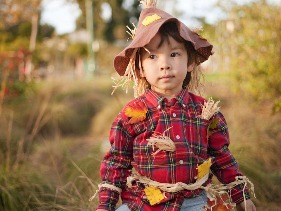 "<p>Comfort takes priority in this toddler-approved costume. To complete the look, stick faux leaves and straw pieces in shirt pockets and the hat's interior. </p><p><a class=""link rapid-noclick-resp"" href=""https://www.amazon.com/GiBot-Artificial-Leaves-Colors-Autumn/dp/B07G92KK1P/?tag=syn-yahoo-20&ascsubtag=%5Bartid%7C10055.g.33397158%5Bsrc%7Cyahoo-us"" rel=""nofollow noopener"" target=""_blank"" data-ylk=""slk:SHOP FAKE LEAVES"">SHOP FAKE LEAVES</a></p><p><strong>RELATED:</strong> <a href=""https://www.goodhousekeeping.com/holidays/halloween-ideas/g385/popular-kids-halloween-costumes/"" rel=""nofollow noopener"" target=""_blank"" data-ylk=""slk:Creative Halloween Costumes for Kids"" class=""link rapid-noclick-resp"">Creative Halloween Costumes for Kids </a></p>"