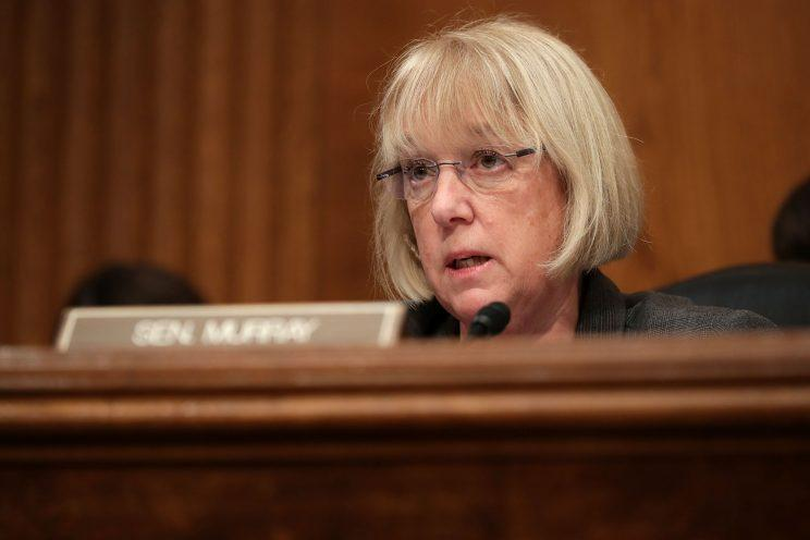 Senate Health, Education, Labor and Pensions Committee ranking member Patty Murray (D-WA) questions Betsy DeVos, President-elect Donald Trump's pick to be the next Secretary of Education, during her confirmation hearing in the Dirksen Senate Office Building on Capitol Hill January 17, 2017 in Washington, DC. DeVos is known for her advocacy of school choice and education voucher programs and is a long-time leader of the Republican Party in Michigan. (Photo by Chip Somodevilla/Getty Images)