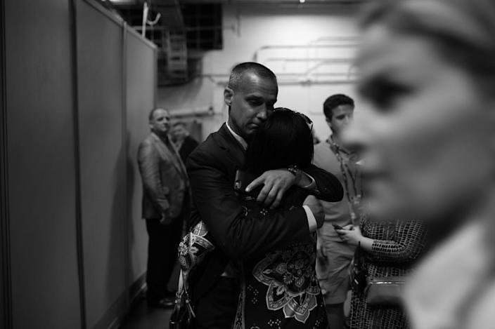 <p>Former Trump staffer Corey Lewandowski gets a hug backstage after Donald Trump was officailly named the GOP nominee during the RNC Convention in Cleveland, OH on July 19, 2016. (Photo: Khue Bui for Yahoo News)</p>