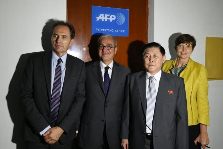(L-R) AFP's Regional Director for Asia-Pacific Philippe Massonnet and Chief Executive and Chairman Emmanuel Hoog stand with Korean Central News Agency President Kim Chang-Gwang and AFP's Global News Director Michele Leridon in Pyongyang Global news agency AFP has opened a bureau in North Korea, becoming one of only a handful of foreign media organisations to have a permanent presence in the one of the world's most isolated states. The Agence France-Presse office in Pyongyang, which was inaugurated late on September 6, will primarily file videos and photos to its thousands of clients around the world