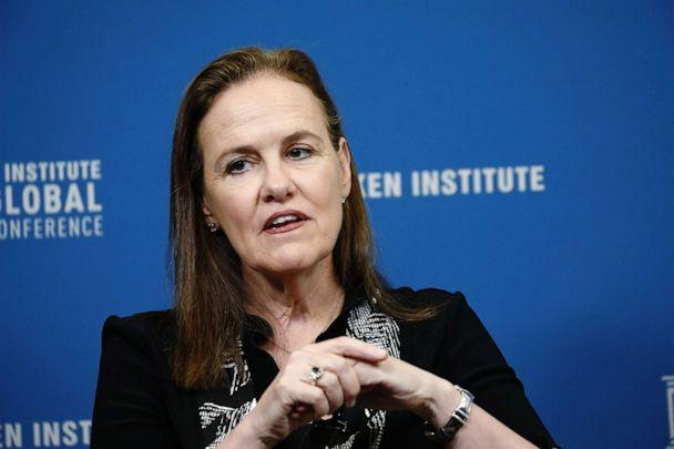 PHOTO: Michele Flournoy, co-founder and managing partner of Westexec Advisors LLC, speaks during the Milken Institute Global Conference in Beverly Hills, Calif., April 29, 2019. (Bloomberg via Getty Images, FILE)