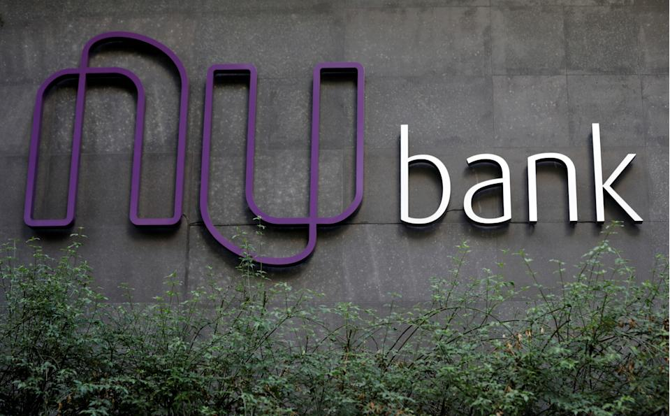 The logo of Nubank, a Brazilian FinTech startup, is pictured at the bank's headquarters in Sao Paulo, Brazil June 19, 2018. Picture taken June 19, 2018. REUTERS/Paulo Whitaker