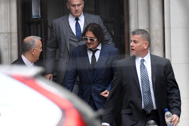 Johnny Depp leaves The Royal Courts of Justice, on the Strand on July 7, 2020 in London, England. Hollywood actor Johnny Depp is taking News Group Newspapers, publishers of The Sun, to court over allegations that he was violent towards his ex-wife, Amber Heard, 34.
