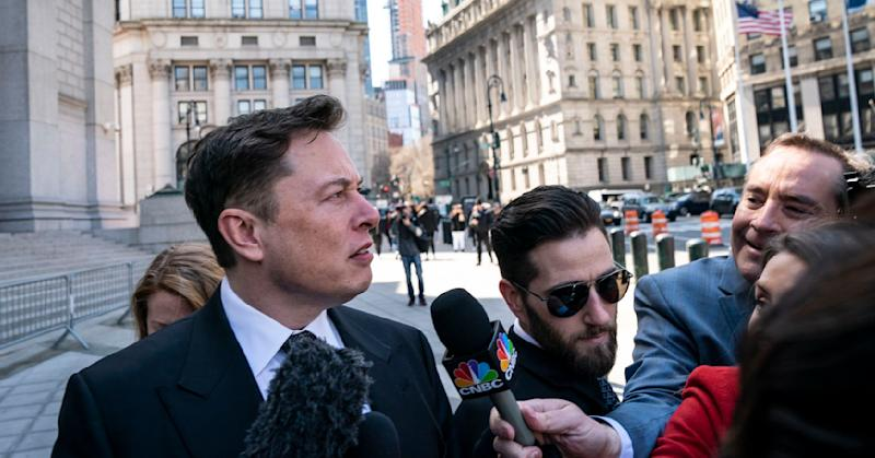 Tesla CEO Elon Musk arrives at federal court, April 4, 2019 in New York City. A federal judge will hear oral arguments this afternoon in a lawsuit brought by the U.S. Securities and Exchange Commission (SEC) that seeks to hold Musk in contempt for violating a settlement deal.