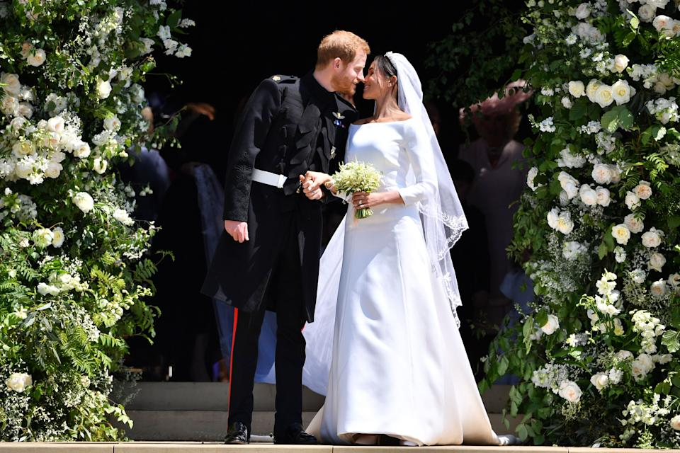 Markle shined in a custom Givenchy gown on her wedding day, in none other than white. The dress has since been displayed in a Royal Wedding exhibit at Windsor Castle. (Photo: Getty Images)