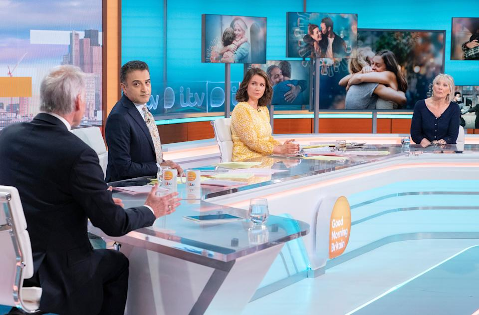 Editorial use only Mandatory Credit: Photo by Ken McKay/ITV/Shutterstock (11907184at) Dr Hilary Jones, Adil Ray, Susanna Reid and Ingrid Tarrant 'Good Morning Britain' TV Show, London, UK - 17 May 2021