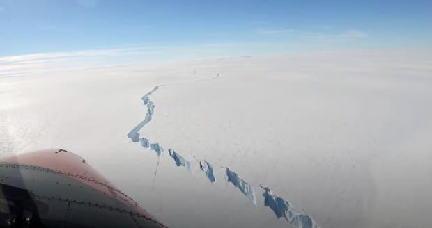 A chasm formed on the Brunt Ice Shelf in Antarctica that led to a massive iceberg breaking off the continent last Friday, British researchers said. (British Antarctic Survey/Reuters - image credit)
