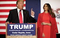 <p>Accompanying her husband on his campaign tour, the new First Lady donned a bright red coat and dress combination, ensuring she stood out on stage. <i>[Photo: Getty]</i> </p>