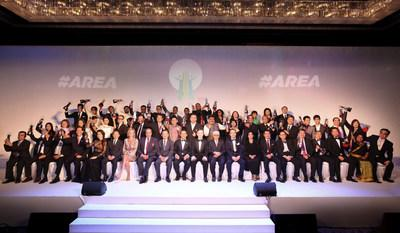 Recipients of the Asia Responsible Entrepreneurship Awards 2017. The AREA is Asia's largest and most important awards for corporate social responsibility, and has been held since 2009. The awards this year attracted a record number of over 300 nominations.