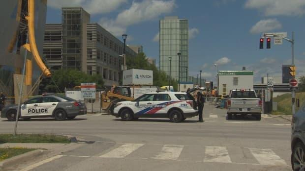 Police say a man is dead following an industrial accident in the area of Keele Street and Steeles Avenue West.  (Mehrdad Nazarahari/CBC - image credit)