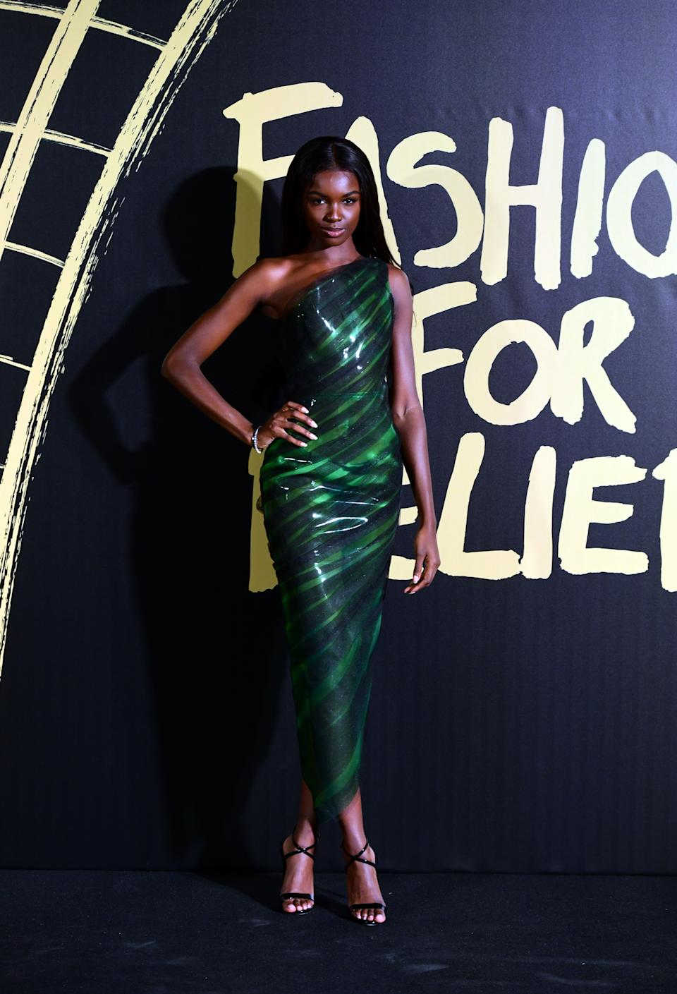 Leomie Anderson arriving on the red carpet for Naomi Campbell's Fashion For Relief Gala during London Fashion Week [Photo: PA]