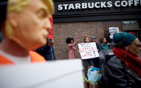 Demonstrators at the Philadelphia branch on Sunday - Credit: Getty Images
