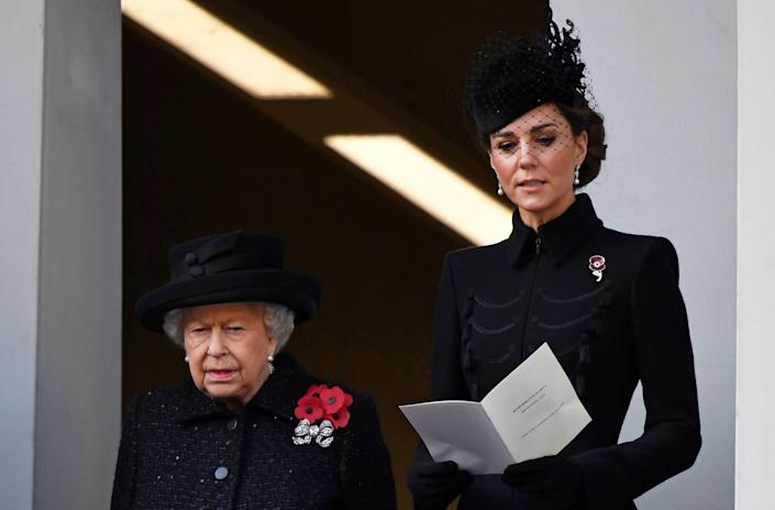Queen Elizabeth and the Duchess of Cambridge attend a National Service of Remembrance in London on Nov. 10. (Photo: Toby Melville / Reuters)