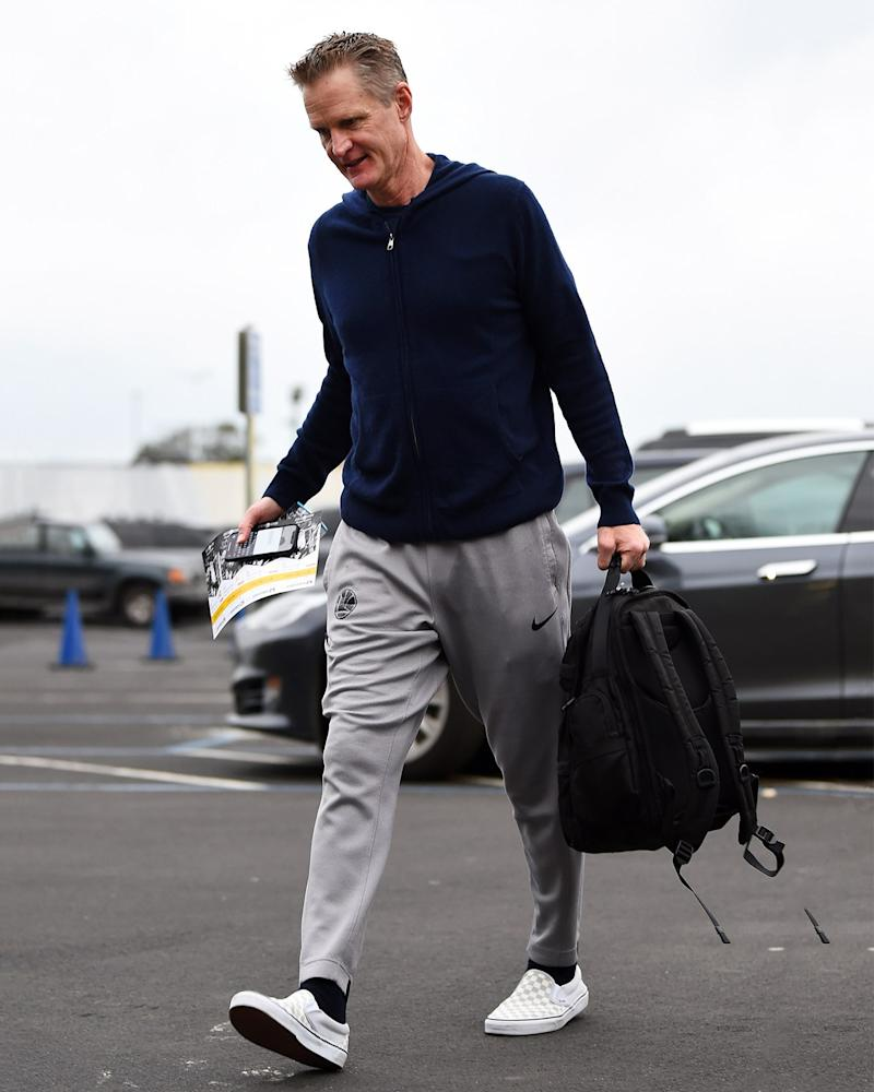 Warriors coach Steve Kerr proves that you don't have to be an NBA player to wear excellent sneakers.