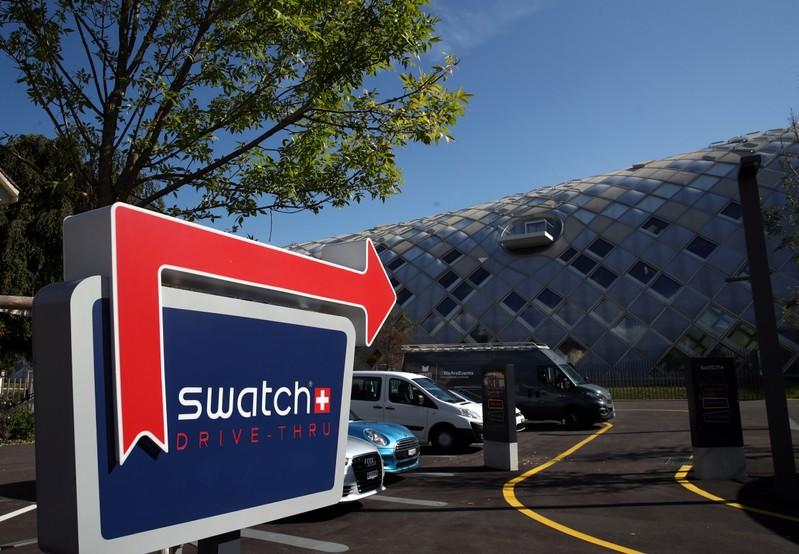 A Swatch logo is pictured in front of the newly built headquarters in Biel