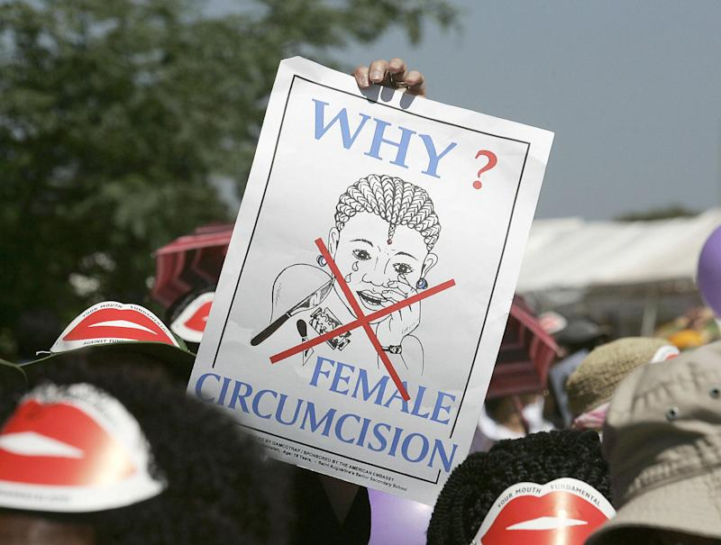 Campaigners at an anti-FGM protest. The practice is rooted in some African countries but has spread in recent years to the US and UK: Getty