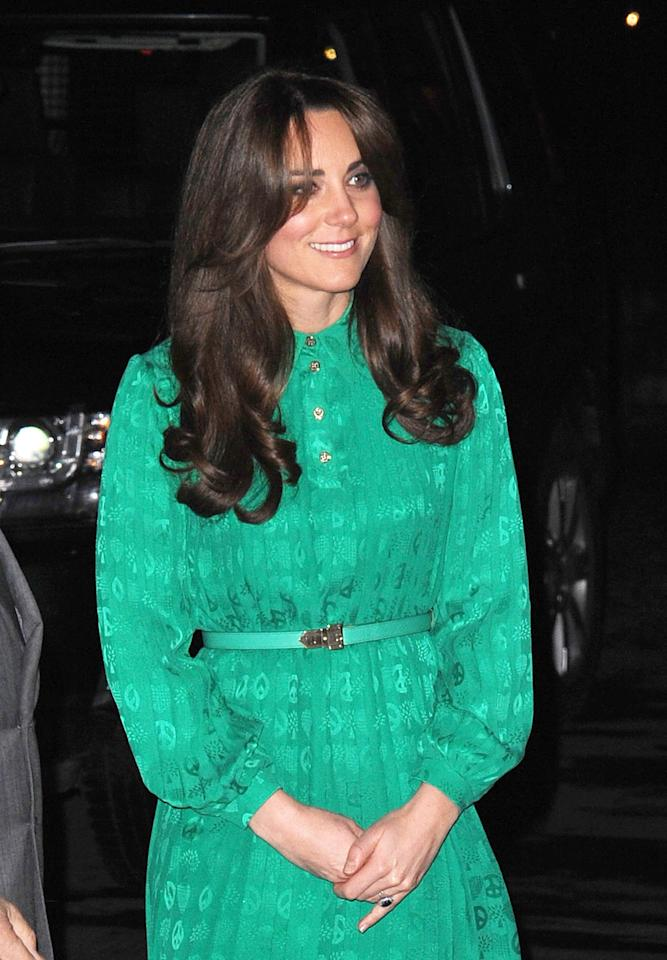 The Duchess of Cambridge was seen looking fabulous in this Mulberry emerald green classic style.