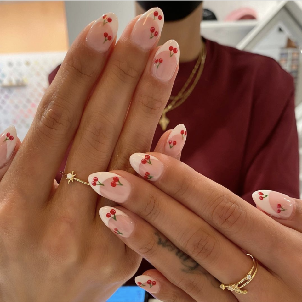 <p>Cherry pie is a Fourth of July staple — top a French manicure with tiny cherries to keep things sweet. </p>