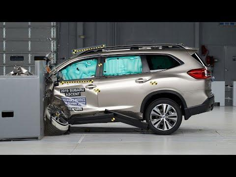"""<p>The <a href=""""https://www.caranddriver.com/subaru/ascent"""" rel=""""nofollow noopener"""" target=""""_blank"""" data-ylk=""""slk:Subaru Ascent"""" class=""""link rapid-noclick-resp"""">Subaru Ascent </a>scored max ratings for all six IIHS crash tests, headlight system, and front crash prevention in vehicle-to-vehicle and vehicle-to-pedestrian tests. The IIHS also rated the Ascent's child seat anchors a Good+ rating as they're easy to find and use. Every Ascent now has low- and high-beam LED headlights that respond to the steering, high-beam assist, as well as blind-spot detection with lane change. They also have Subaru's EyeSight technology, with adaptive cruise control, automated emergency braking, and lane-keeping assist with departure warning. </p><p><a class=""""link rapid-noclick-resp"""" href=""""https://www.caranddriver.com/subaru/ascent"""" rel=""""nofollow noopener"""" target=""""_blank"""" data-ylk=""""slk:MORE ASCENT INFO"""">MORE ASCENT INFO</a></p><p><a href=""""https://www.youtube.com/watch?v=2ho9RW7QcdA"""" rel=""""nofollow noopener"""" target=""""_blank"""" data-ylk=""""slk:See the original post on Youtube"""" class=""""link rapid-noclick-resp"""">See the original post on Youtube</a></p>"""