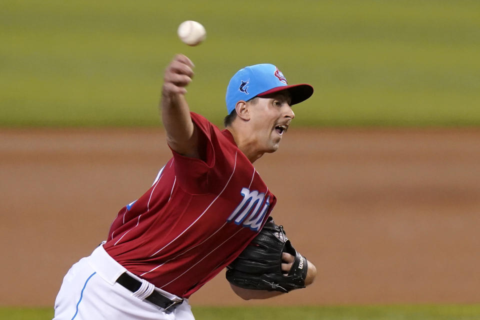 Miami Marlins starting pitcher Cody Poteet throws during the first inning of a baseball game against the New York Mets, Sunday, May 23, 2021, in Miami. (AP Photo/Lynne Sladky)