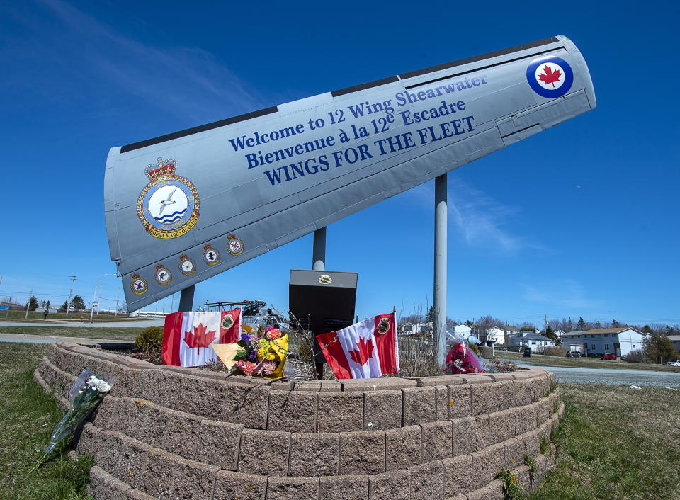 A memorial is seen at 12 Wing Shearwater in Dartmouth, N.S., home of 423 Maritime Helicopter Squadron, on Thursday, April 30, 2020. A CH-148 Cyclone helicopter flying from the Halifax-class frigate HMCS Fredericton crashed in the Ionian Sea between Italy and Greece while taking part in an exercise as part of a NATO operation in the Mediterranean. THE CANADIAN PRESS/Andrew Vaughan