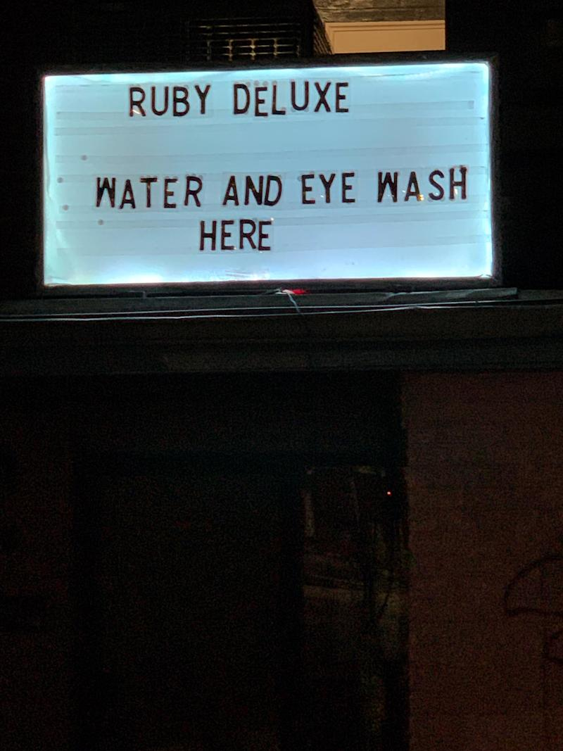 The welcoming sign outside of Ruby Deluxe in Raleigh, N.C. (Tim Lemuel)