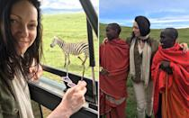 <p>My first Zebra sighting in the Ngorongoro crater. T<span>he second image depicts our visit to a local </span>Maasai<span> Tribe outside of the </span>Ngorongoro<span> crater. To the left was the son of the Chief, who took us around the village and explained what they eat and how they live.</span></p>
