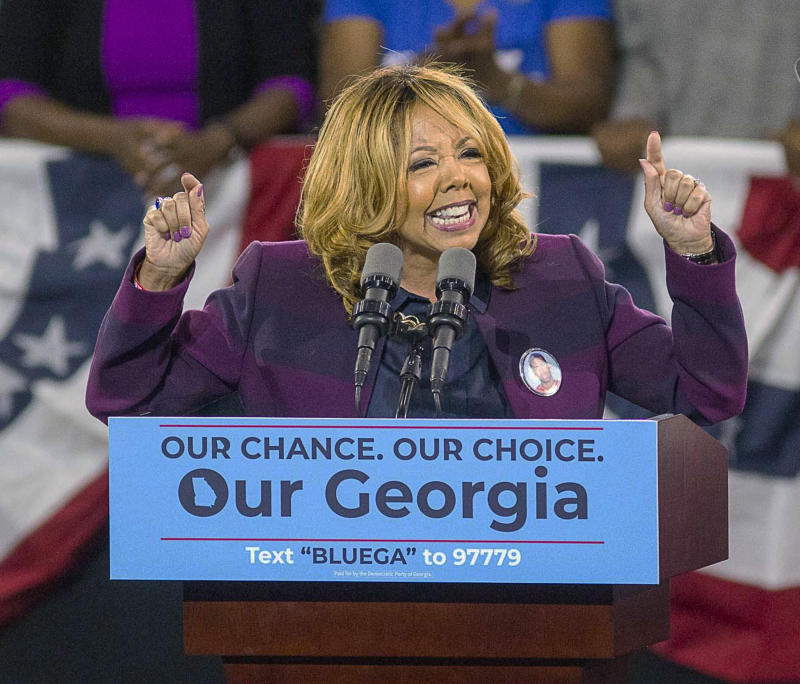 Lucy McBath speaks during a rally for Democratic gubernatorial candidate Stacey Abrams at Morehouse College in Atlanta on Nov. 2.McBathbeat Republican incumbent Karen Handel in a tight race in Georgia's 6th Congressional District. (Associated Press)