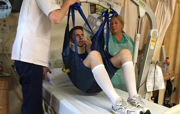 James showed incredible determination to walk again. Photo: Mega