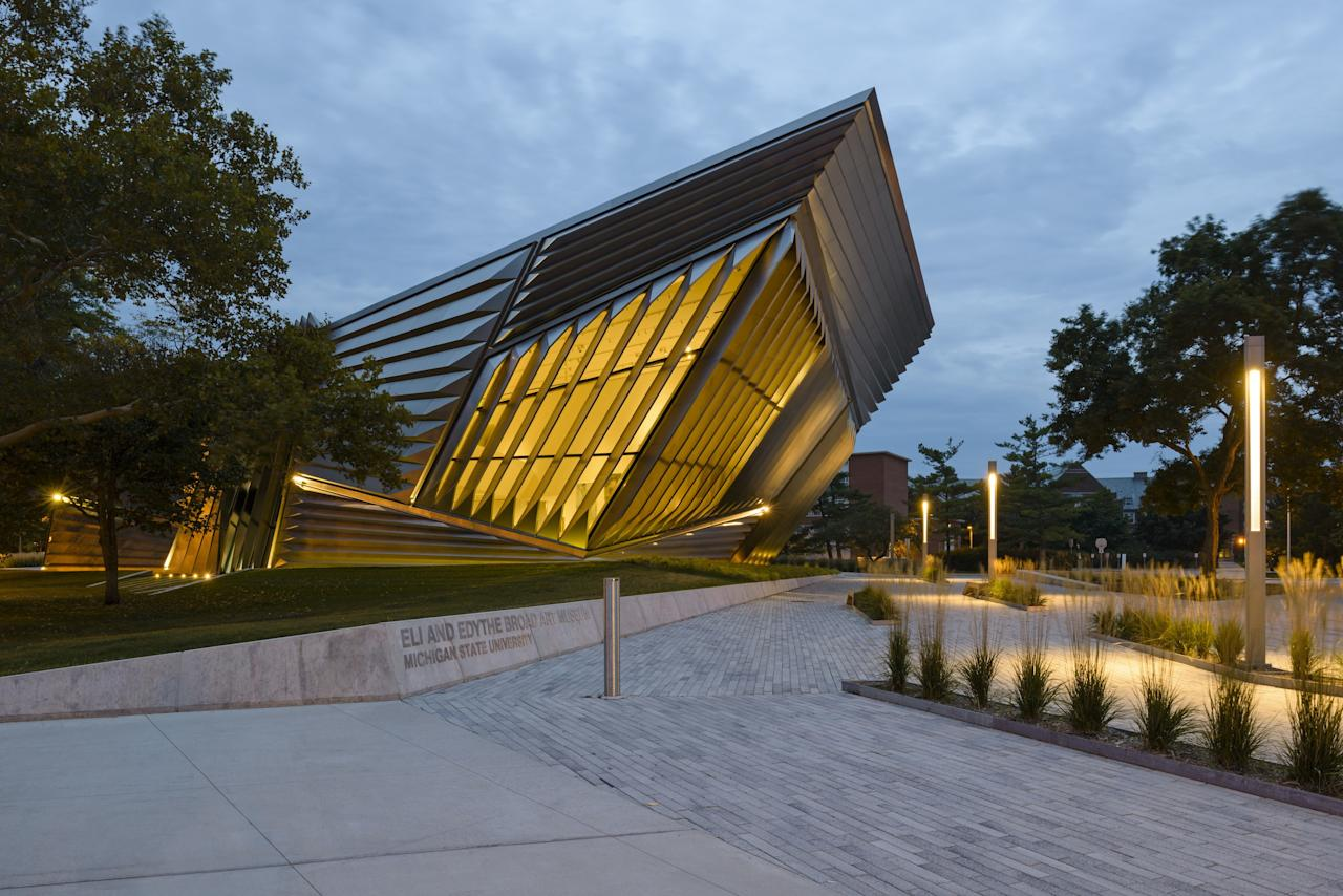 The late, great Zaha Hadid won a design competition for the Eli and Edythe Broad Art Museum at Michigan State University in East Lansing, Michigan. Opened in 2012, the museum features the Pritzker Prize–winning architect's signature futuristic style, with horizontal and diagonal lines creating a sense of motion through the building.