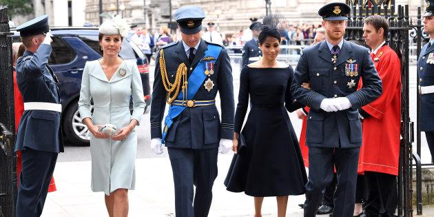 The Duke and Duchess of Cambridge arrive with the Duke and Duchess of Sussex to the RAF Centenary at Westminster Abbey, London.