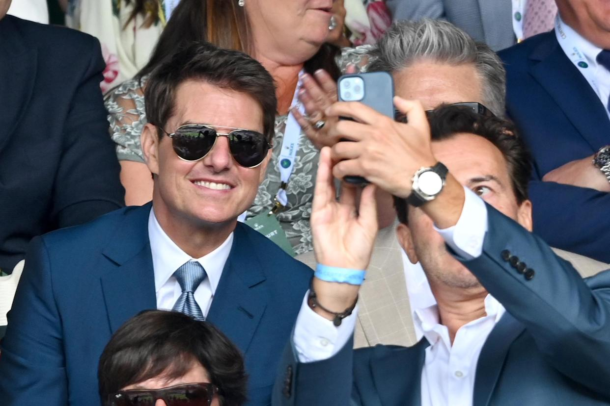LONDON, ENGLAND - JULY 11: Tom Cruise attends Wimbledon Championships Tennis Tournament at All England Lawn Tennis and Croquet Club on July 11, 2021 in London, England. (Photo by Karwai Tang/WireImage)
