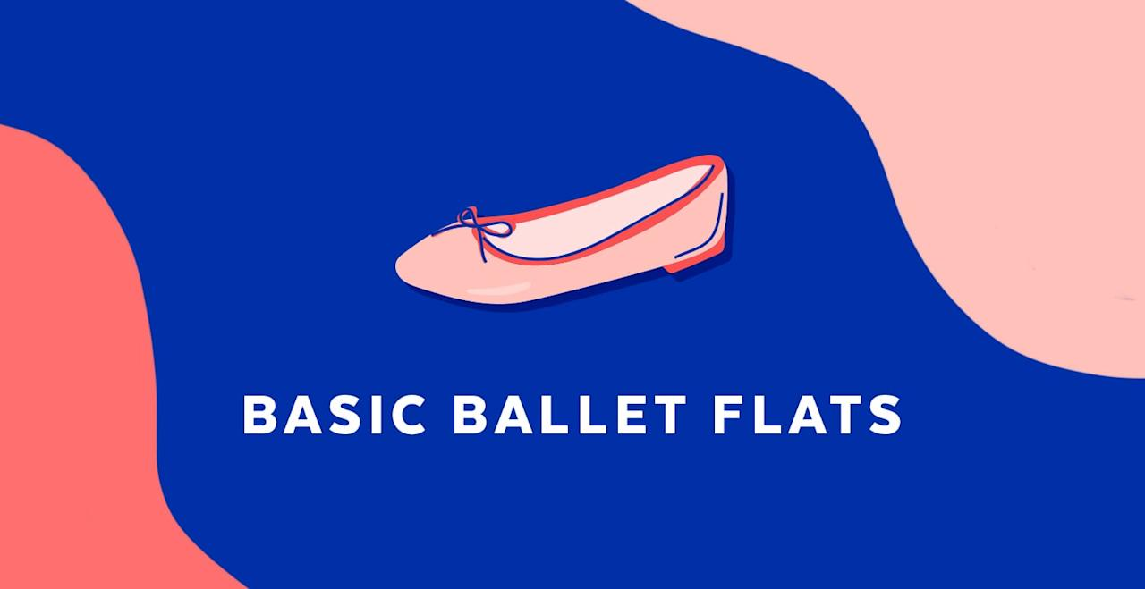 <p>Ballet flats (or skimmer flats) are a no-fuss solution to feeling polished and pulled together while on the go. They're equal parts comfy and casual, meaning we can wear them with pretty pleated skirts, shift dresses, or even cutoffs.</p>