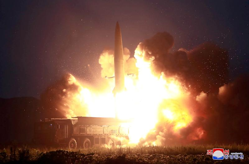 A missile is launched during testing at an unidentified location in North Korea, in this undated image provided by KCNA on August 7, 2019. KCNA via REUTERS ATTENTION EDITORS - THIS IMAGE WAS PROVIDED BY A THIRD PARTY. REUTERS IS UNABLE TO INDEPENDENTLY VERIFY THIS IMAGE. NO THIRD PARTY SALES. SOUTH KOREA OUT. NO COMMERCIAL OR EDITORIAL SALES IN SOUTH KOREA. TPX IMAGES OF THE DAY