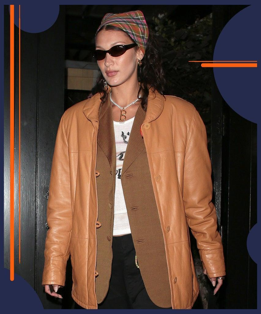 LONDON, ENGLAND – AUGUST 17: Bella Hadid seen on a night out with friends leaving Chiltern Firehouse on August 17, 2021 in London, England. (Photo by Ricky Vigil M/GC Images)