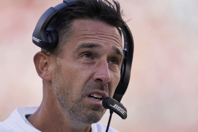 San Francisco 49ers head coach Kyle Shanahan stands on the sidelines during the second half of an NFL football game against the Carolina Panthers in Santa Clara, Calif., Sunday, Oct. 27, 2019. (AP Photo/Tony Avelar)
