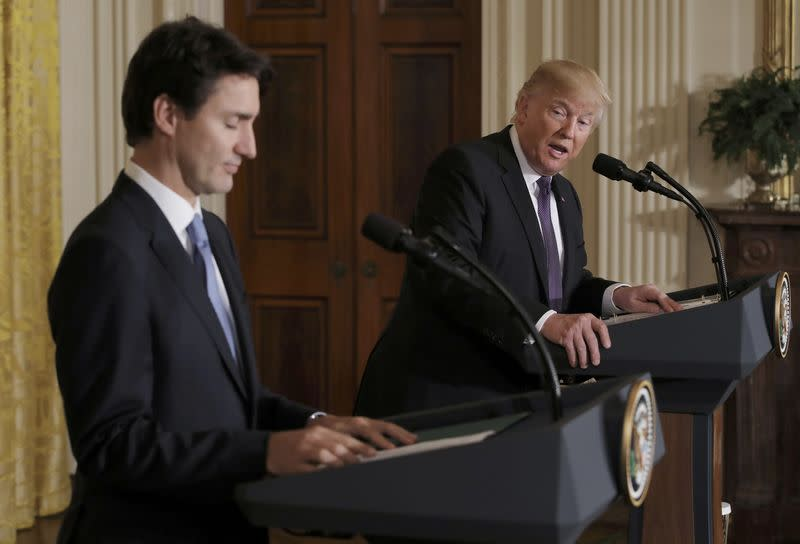 Canadian Prime Minister Trudeau and U.S. President Trump participate in joint news conference at the White House in Washington