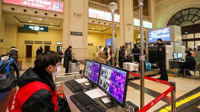 Thermal scanners that detect temperatures of passengers inside the Hankou station in Tuesday