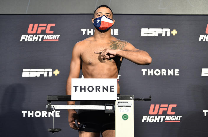 LAS VEGAS, NEVADA - JULY 31: In this handout image provided by UFC, Trevin Giles poses on the scale during the UFC Fight Night weigh-in at UFC APEX on July 31, 2020 in Las Vegas, Nevada. (Photo by Chris Unger/Zuffa LLC via Getty Images)