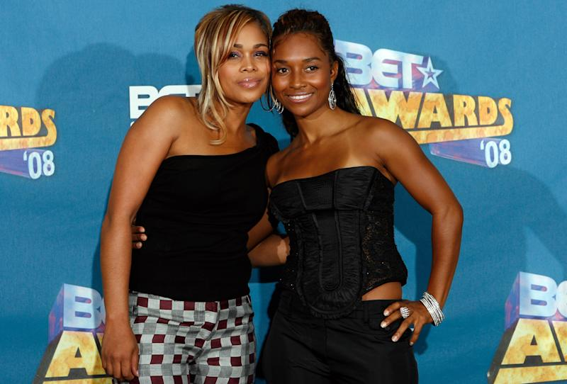 """FILE- In this June 24, 2008 file photo, Tionne """"T-Boz"""" Watkins, left, and Rozonda """"Chilli"""" Thomas pose backstage at the BET Awards in Los Angeles. For R&B singer Tionne """"T-Boz"""" Watkins of the Grammy-winning TLC, it has been a rocky road since the 2002 death of Lisa """"Left Eye"""" Lopez. Now, she puts her life on display through her new reality show, """"Totally T-Boz,"""" an hour-long, four-episode series that airs on cable network TLC on Tuesdays, which premiered on Jan. 1, 2013. (AP Photo/Danny Moloshok, File)"""