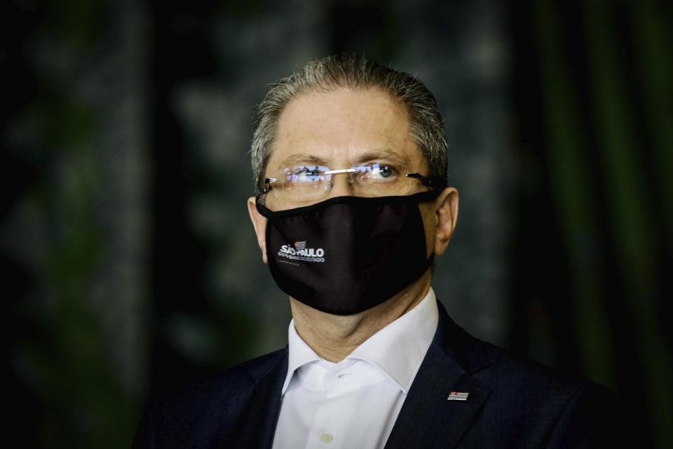Governor João Doria announces new measures to intensify the fight against the new coronavirus (Covid-19) in the State of São Paulo, this Monday, October 5, 2020 at the Palácio dos Bandeirantes in the neighborhood of Morumbi, south zone of São Paulo, Brazil. In the photo, the Secretary of State for Health, Jean Gorinchteyn. (Photo: Aloisio Mauricio/Fotoarena/Sipa USA)(Sipa via AP Images)