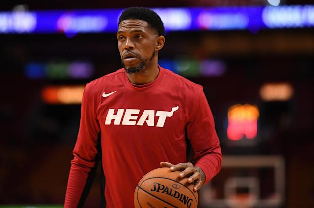 """<a class=""""link rapid-noclick-resp"""" href=""""/nba/players/5010/"""" data-ylk=""""slk:Dion Waiters"""">Dion Waiters</a>' suspension can serve as a message for the Heat, and captain <a class=""""link rapid-noclick-resp"""" href=""""/nba/players/3765/"""" data-ylk=""""slk:Udonis Haslem"""">Udonis Haslem</a> hopes the younger players on their team are paying attention. (Mark Brown/Getty Images)"""