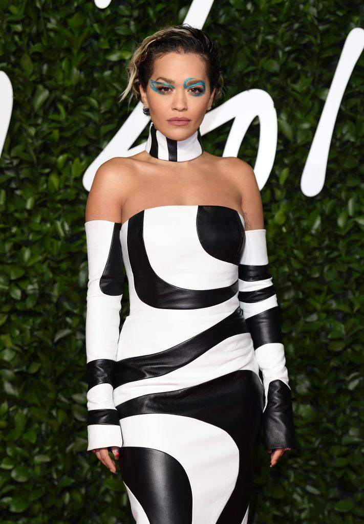 Rita Ora turned heads in this monochrome dress by 16Arlington [Photo: Getty]