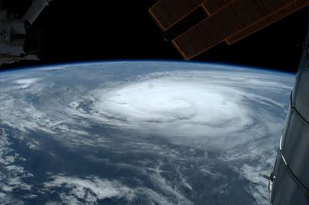 Hurricane Arthur over the Atlantic is shown in this photo from the International Space Station and tweeted by European Space Agency astronaut Gerst