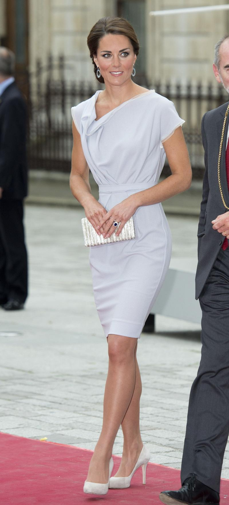 The Duchess arrived at UK's Creative Industries reception in July 2012 wearing a classy gray Roksanda Ilincic dress.