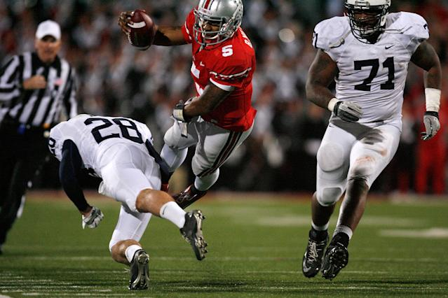 COLUMBUS, OH - NOVEMBER 19: Braxton Miller #5 of the Ohio State Buckeyes is tackled by Drew Astorino #28 of the Penn State Nittany Lions during the fourth quarter on November 19, 2011 at Ohio Stadium in Columbus, Ohio. Penn State defeated Ohio State 20-14. (Photo by Kirk Irwin/Getty Images)