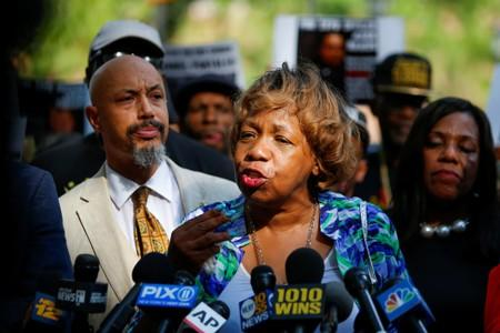 Carr, mother of Eric Garner speaks during a press conference outside Police Headquarters in New York
