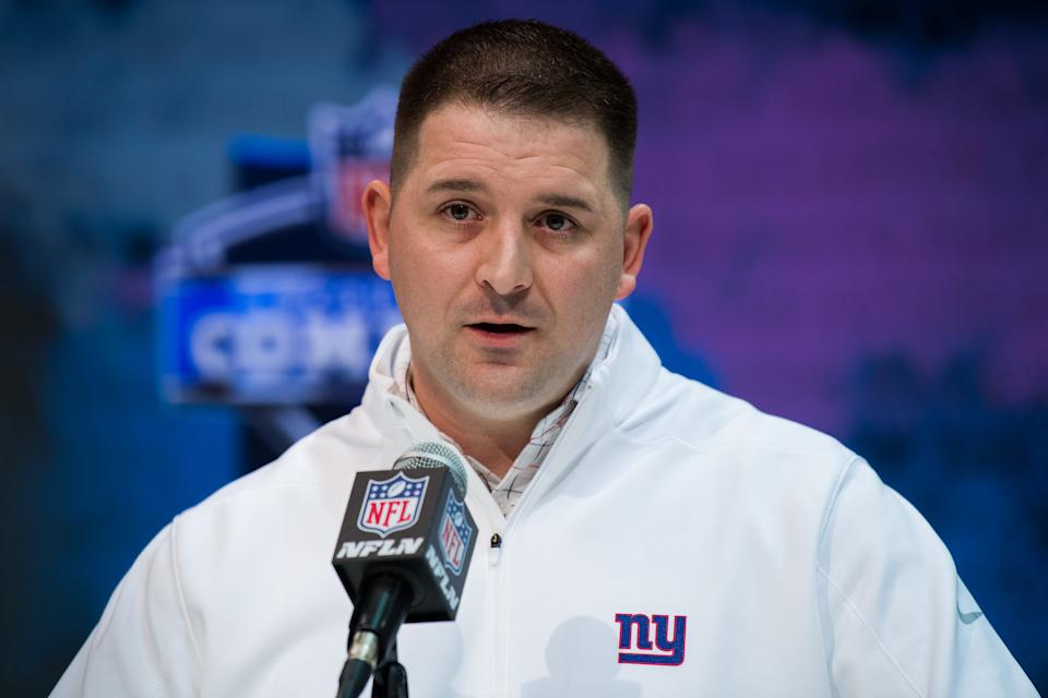 New York Giants head coach Joe Judge during the NFL scouting combine in February at the Indiana Convention Center in Indianapolis. (Photo by Zach Bolinger/Icon Sportswire via Getty Images)